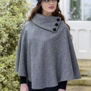 Mucros Weavers of Ireland Tweed Gray Herringbone Button Poncho NWT One Size